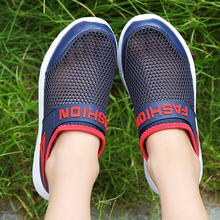 ULKNN 2019 spring childrens net shoes mesh breathable boys girls single stencil casual big BLUE WHITE