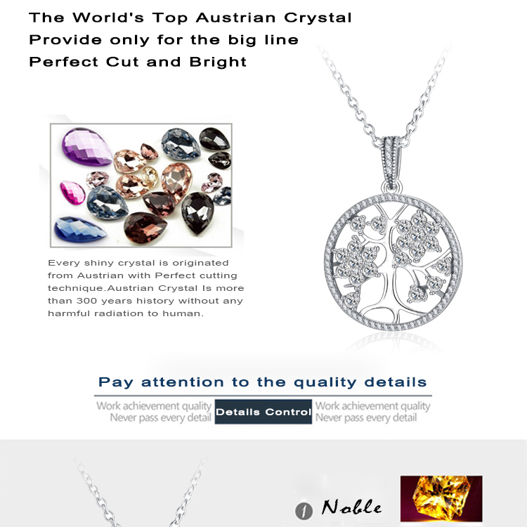 ARUEL Silver Brand Clear Shape CZ lover gift Tree of Life Round Pendant Necklaces for Women Party elegant fashion love Jewelry