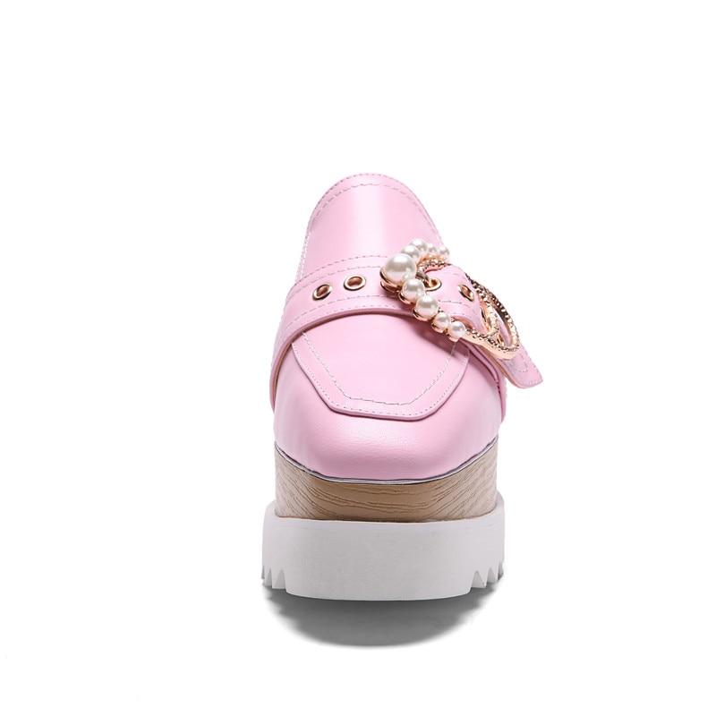 Vaca Plataforma Karinluna Cuero 34 Grande Mujeres Resorte Decoración Genuino Pisos Ocio Zapatos 43 Mujer Tamaño rosado Negro Colid Metal Del IOSwRXqS
