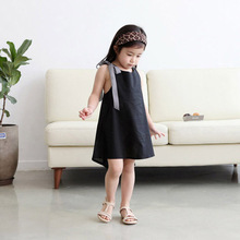 Summer baby girls sleeveless dress black kids korean fashion party cotton prom tails dresses for little children casual clothes