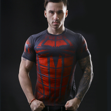 2015 neue druck superman/batman t-shirt männer trocknen schnell fitness clothing fitness t-shirt strumpfhosen