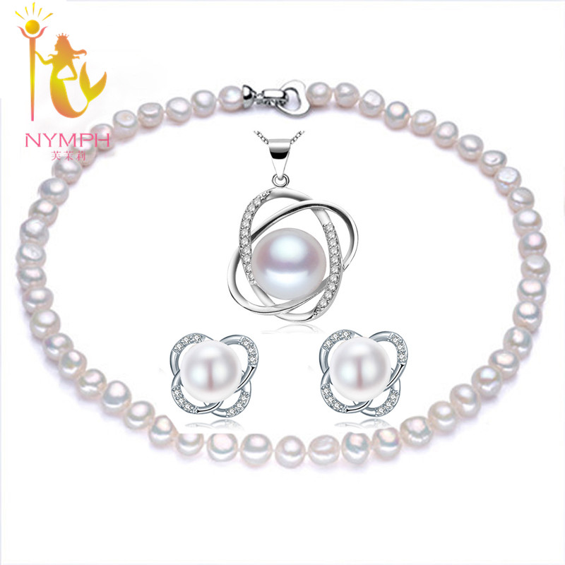 NYMPH Wedding Pearl Jewelry Set For Women Fine Jewelry Natural Freshwater Pearl Necklace Earrings Pendant 39 european pastoral village glass desk lamp bedroom bedside lamp warm modern minimalist creative flowers desk lamp free shipping