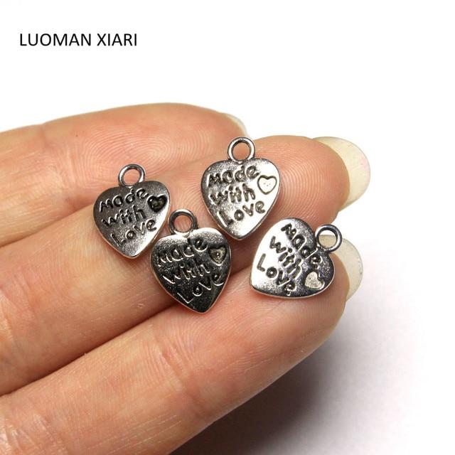 20/50 PCS Wholesale Vintage Metal Zinc Alloy Charms DIY Heart Shape Pendant Brac