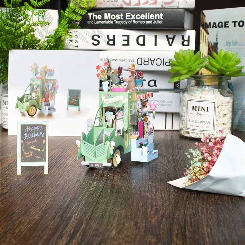 День рождения всплывающие карты цветок автомобиля подарочные карты Baby Shower мультфильм поздравительные открытки Почтовые открытки для детей