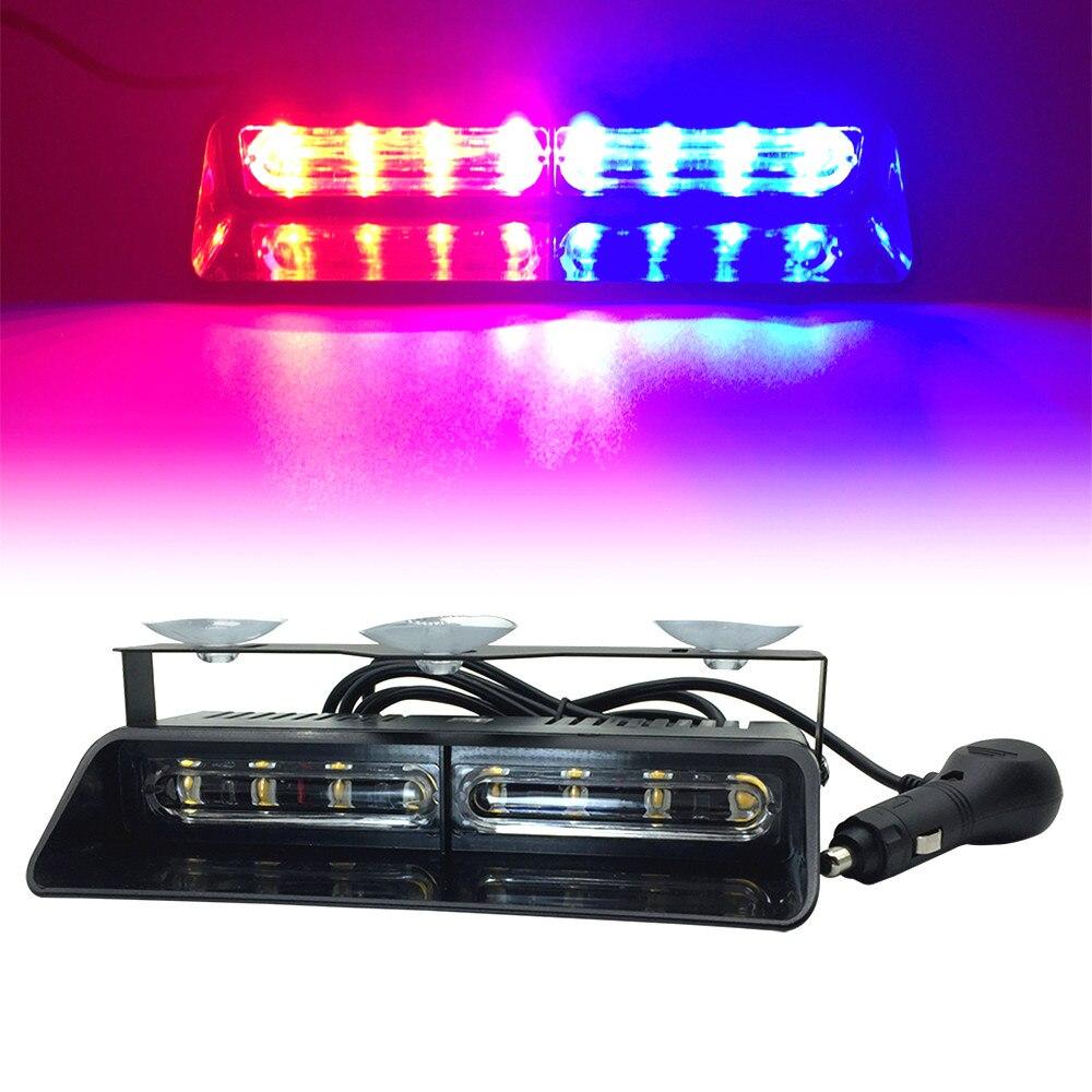 8 LED Lightning Red Yellow Blue Car Windshield Signal Strobe Flash Light Auto Police LED Emergency Warning Lamp Fog Lights