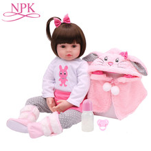 564e91f42b NPK bebe 47 CM de silicona muñeca súper bebé muñeca hecho a mano realista  Adorable niño metoo muñeca juguetes para chico regalo