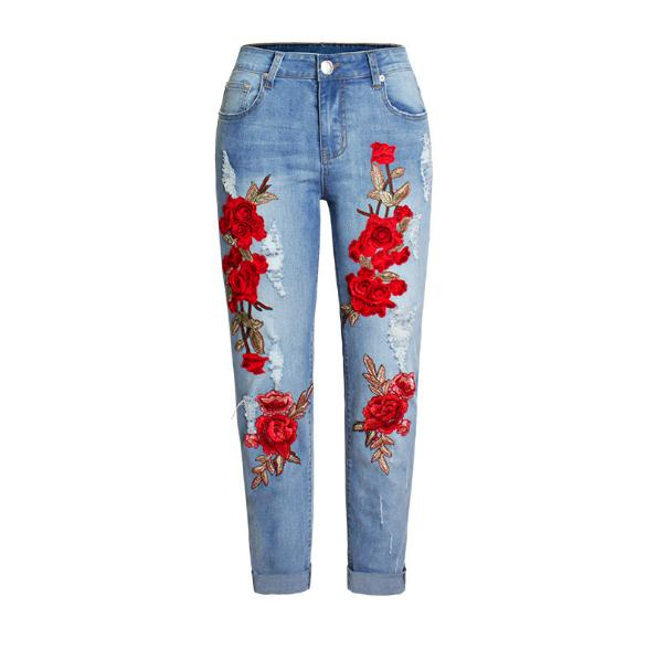 Stretchy Denim Pants For Women Jeans Ripped Jeans Scuffs 3D Embroidery Flowers Printing Woman New Plus Size Trousers S/3XL D199