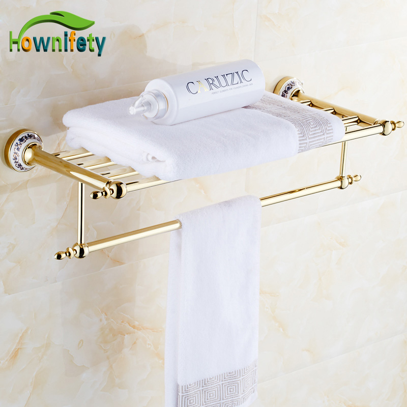 Luxury Solid Brass Gold Polished BathroomTowel Rack Blue and White Porcelain Towel Holder Wall Mount Towel Bar disney princess brass key 2003 holiday collection porcelain doll snow white
