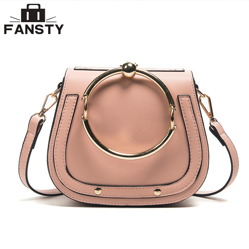 Fashion Designer European Style Women Handbag Casual Metal Ring Saddle Lady Crossbody Bag Simple PU Leather