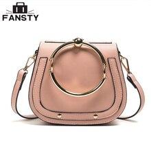 Mode-Designer Europäischen Stil Frauen Handtasche Lässig Metall Ring Sattel Lady Umhängetasche Einfache Pu-leder Shell umhängetasche