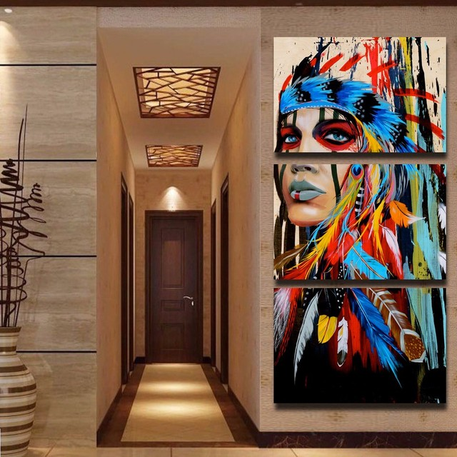 5 Panels Canvas Prints Native American Girl Feathered Women Canvas Painting  Poster Home Decor Wall Art