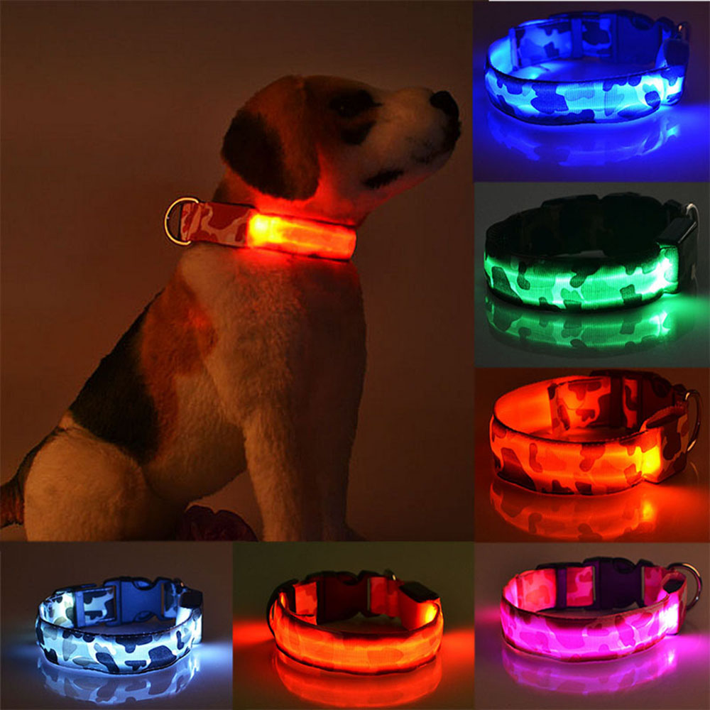 LED Dog Collar Luminous Pet Products Safety Camouflage Stylish Flashing Glow Necklace Pet Accessories