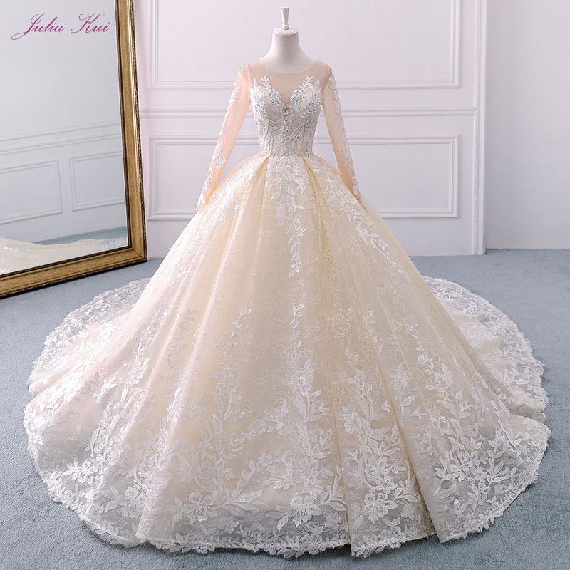 Julia Kui Real Photos Full Sleeves Ball Gown Wedding Dress Embroidery Scoop Beading Pearl Floral Print Chapel Train Bridal Gowns