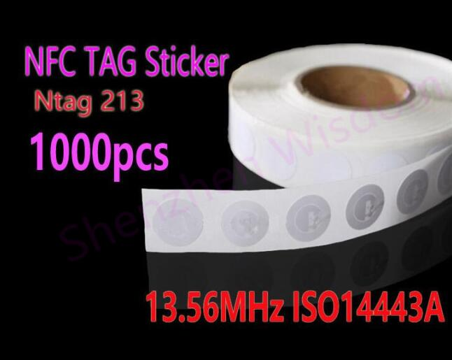 1000pcs/Lot NFC Tag Stickers Ntag213  RFID Tag 13.56MHz ISO14443A NFC Sticker Universal Label for all NFC phones 4pcs lot nfc tag sticker 13 56mhz iso14443a ntag 213 nfc sticker universal lable rfid tag for all nfc enabled phones dia 30mm
