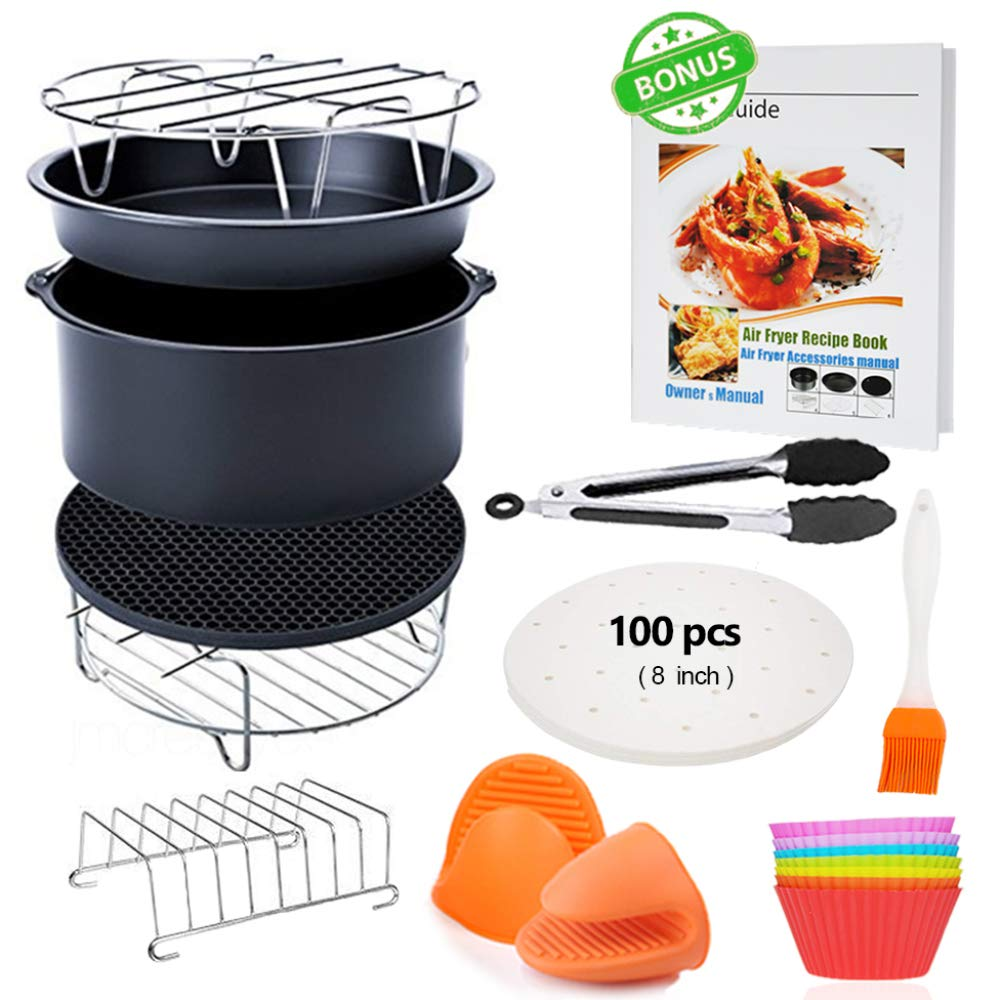 "12Pcs 8/"" Air Fryer Accessories Set For 5.2~5.8QT Baking Shell Pan Holder AK"