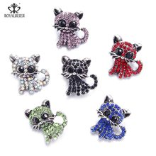 RoyalBeier 5 Cute Cat Snap Button Wth Rhinestone Animal Metal Snap Button 18mm Colorful DIY Charms For Snap Bracelet Jewelry(China)