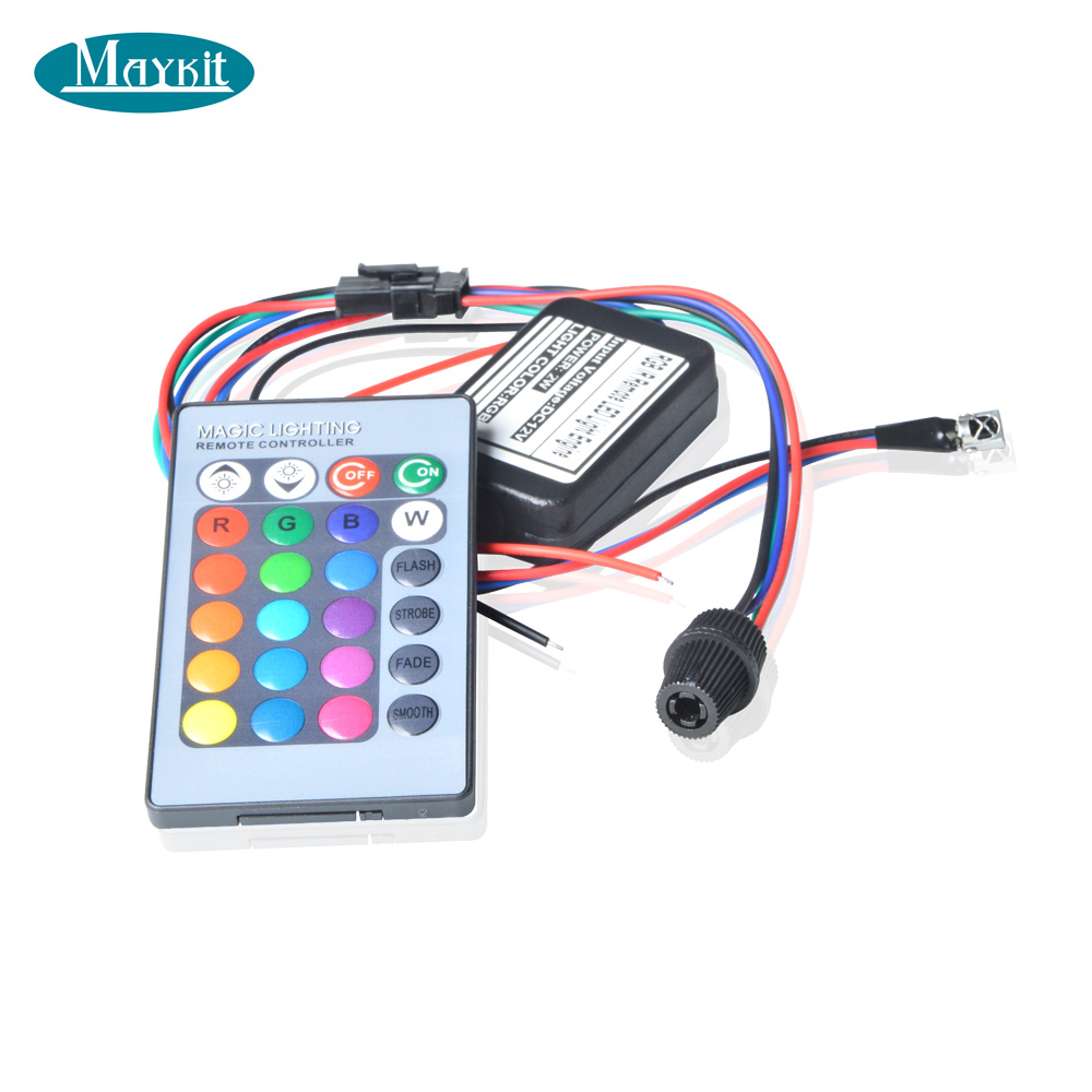 Maykit 2W DC 12V Car Decorative Light Illuminator Fiber Optic Car With Side Beam Fiber Optic Cable Remote Controller все цены