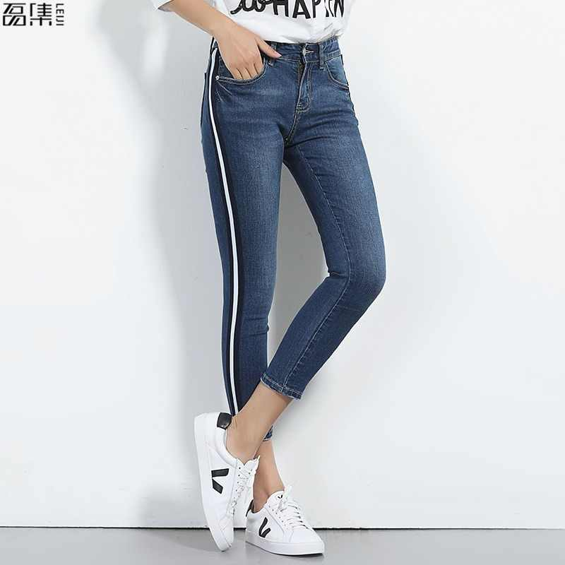 2019 autumn Jeans for women plus size skinny ankle length pencil pant stripe Retro blue Trousers for woman  5XL 6XL