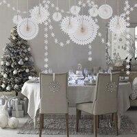 Снежный набор украшений для вечеринки бумажный веер Снежинка цветы подвесные гирлянды бумажные веера Свадьба домашний торт пространство Д...
