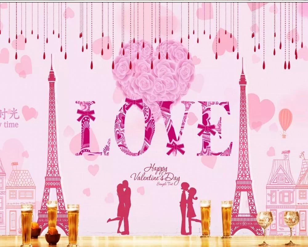 Gratis Pengiriman Kustom Wallpaper Mural HD Definisi Tinggi Pink Cinta Romantis Latar Belakang Lukisan Dinding Wallpaper