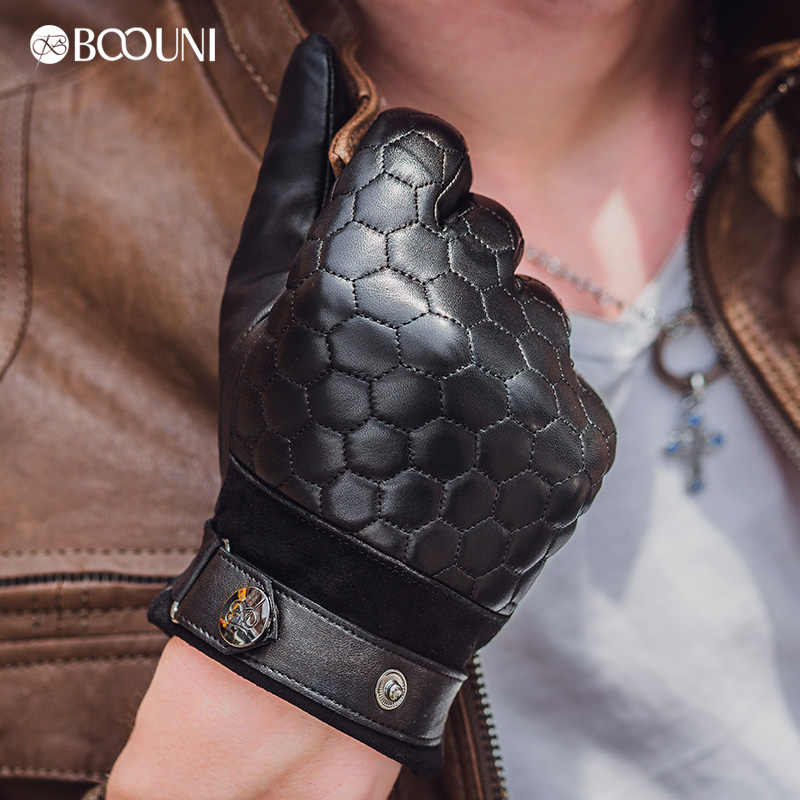 BOOUNI Genuine Leather Men Gloves Fashion Plaid Black Business Sheepskin Driving Glove Winter Thicken Warm Five Finger NM764