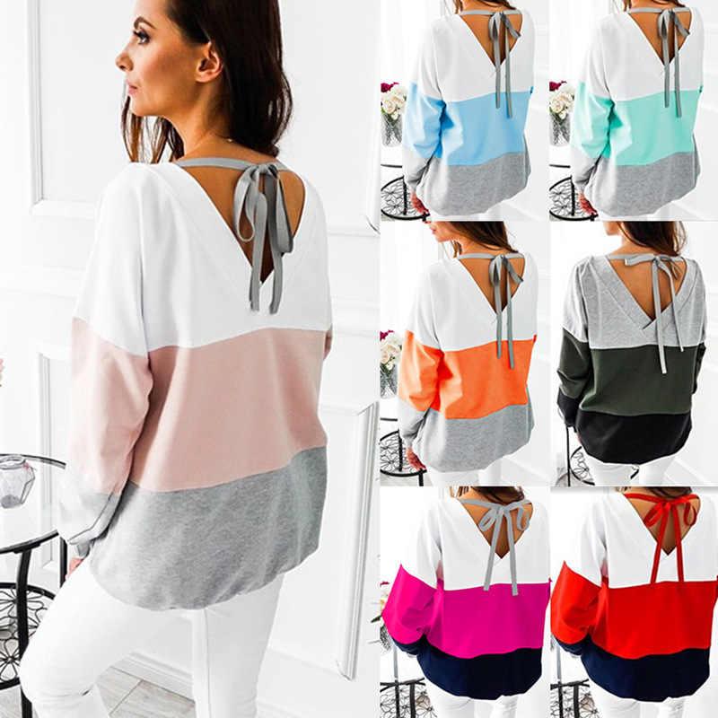 Женская футболка, Новое поступление 2019, свободная цветная ФЛИСОВАЯ ФУТБОЛКА с круглым вырезом и длинным рукавом, vestidos LX1202
