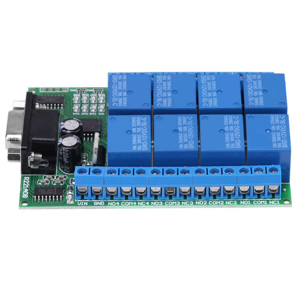 12V 8-Channel DB9 RS 232 Relay Module Remote Control Switch Smart Home DC 12V Po