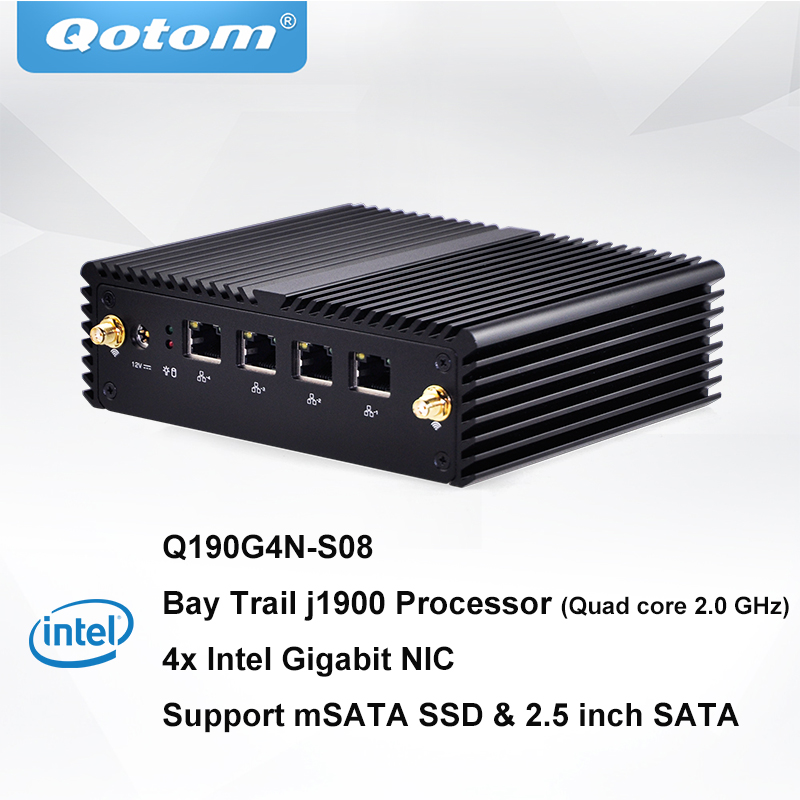QOTOM Mini PC With 4 Gigabit NIC And BayTrail J1900 Processor, Preload PFSense To Build Firewall Router, Quad Core Mini PC 4 LAN