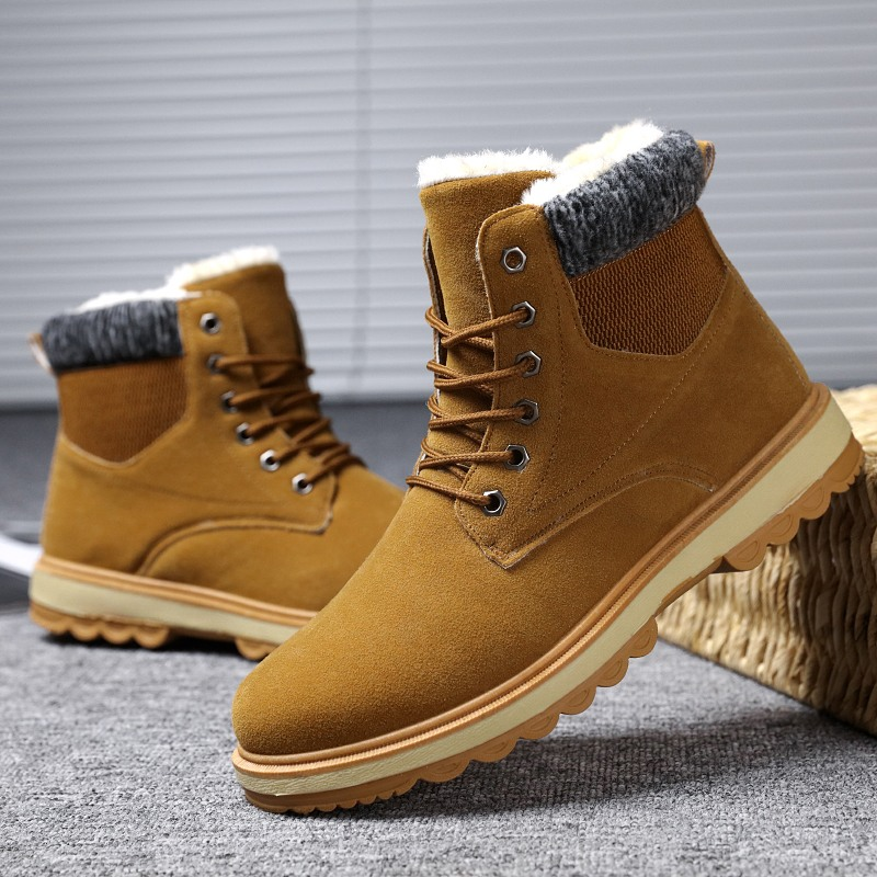 Men's Snow Boots Winter Hot Sale Keep Warm Casual Shoes Fashion Comfortable Lace-up Men Work Shoes Light Outdoor Cold Protection hot sale winter new men winter snow boots brand outdoor keep warm fashion casual shoes ankle lace up non slip man cotton shoes