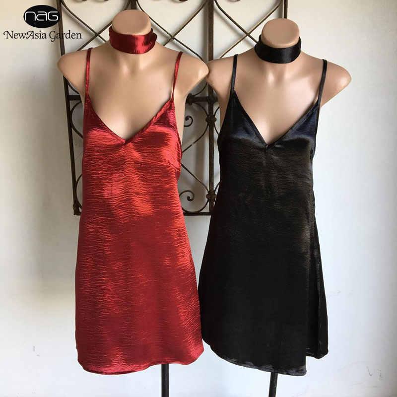 3e12c61f18bd ... Cross Back Choker V Neck Sleeveless Women's Satin Slip Dress Club Wear  Summer Spring Silk Mini