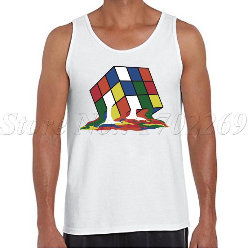 Hombres camisetas sin mangas de Big Bang Theory Sheldon Cooper Fundido De Fusión Rubiks Cube colorida impreso hombre singletes Chaleco de La Cultura Pop