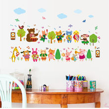 Cartoon animal band wall stickers children's room decoration kids bedroom furniture wardrobe sticker tree bird mural for(China)