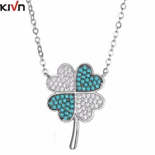 ФОТО kivn womens fashion jewelry lucky four leaf clover cz cubic zirconia bridal wedding pendant necklaces mothers birthday gifts