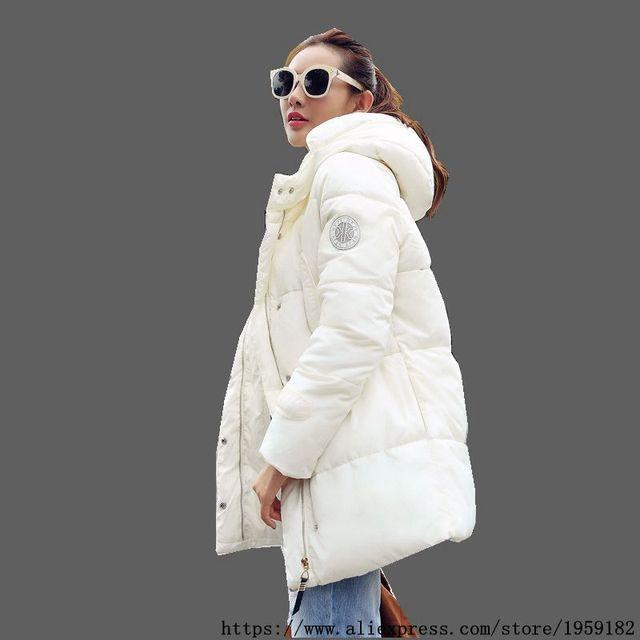 2016 Mais Recente Moda Mulheres Casaco de Inverno Espessamento Quente Com Capuz Médio long Down jacket Parkas de manga Longa Soltas Grandes estaleiros NZ358