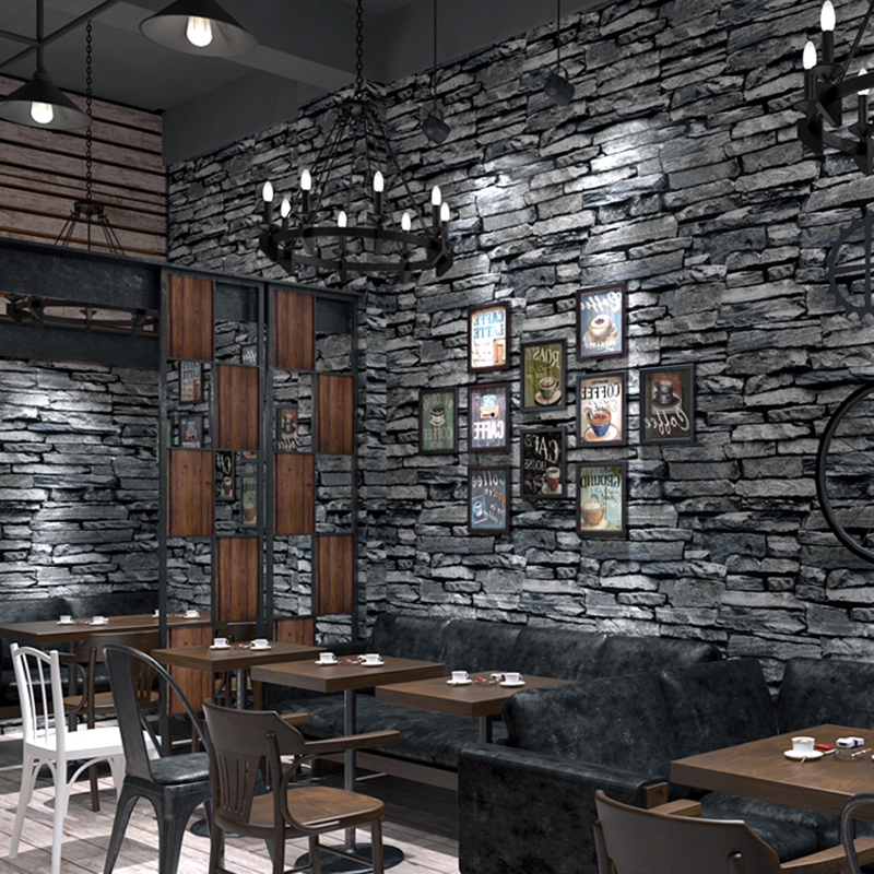 PVC Wallpaper 3D Embossed Brick Wallpaper Living Room Kitchen Hotel Restaurant Stone Wall Paper ...