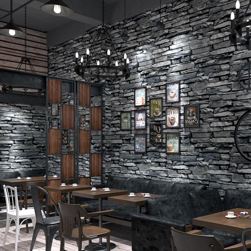 PVC Wallpaper 3D Embossed Brick Wallpaper Living Room Kitchen Hotel Restaurant Stone Wall Paper ...