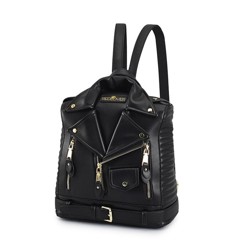 Femmes nouveau sac à dos double sac à bandoulière rivet veste manteau cool poche sac à dos célèbre designer luxe dame sac - 2