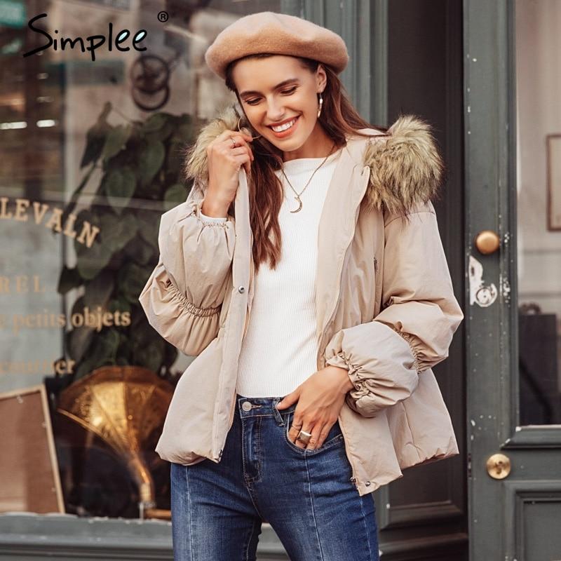 Simplee Элегантная куртка с капюшоном пальто зимы женщин меховой воротник с пышными рукавами женский пиджак вниз Повседневное Рождество Толст...