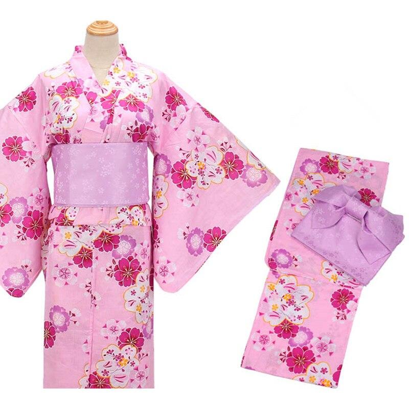 Vêtements traditionnels pour femmes classiques beaux imprimés floraux Kimono japonais/vêtements Yukata Cosplay 6 pièces/ensemble Geta inclus
