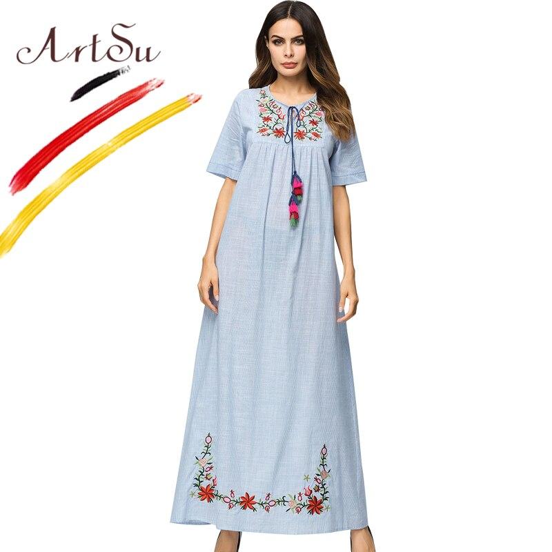 ArtSu Elegant Women Floral Embroidery Short Sleeve Summer Dress Ethnic Tie O-Neck Tassel Casual Maxi Dess Oversized Slim Vestido