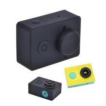 Capa protetora de silicone para xiaomi yi, acessório para câmera de ação, com tampa para lente