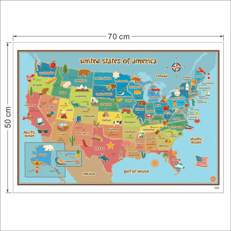 colorful United States of America map wall stickers living room home  decorations pvc paper muralart office kids room wall poster