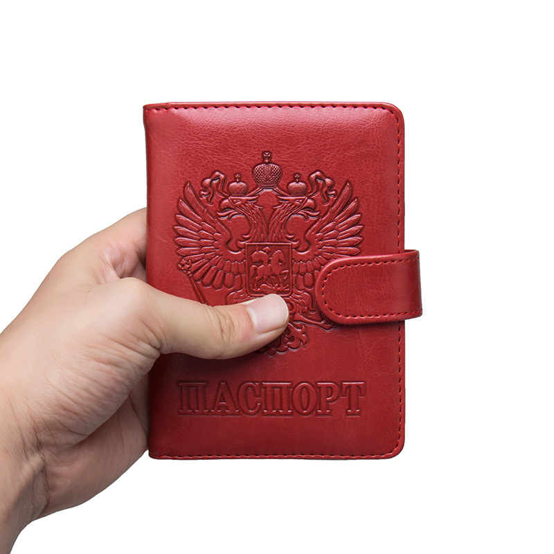 Russian Leather RFID Blocking Passport Holder Wallet Cover Travel Document Organizer Case for Men Women with Credit Card Slots стоимость