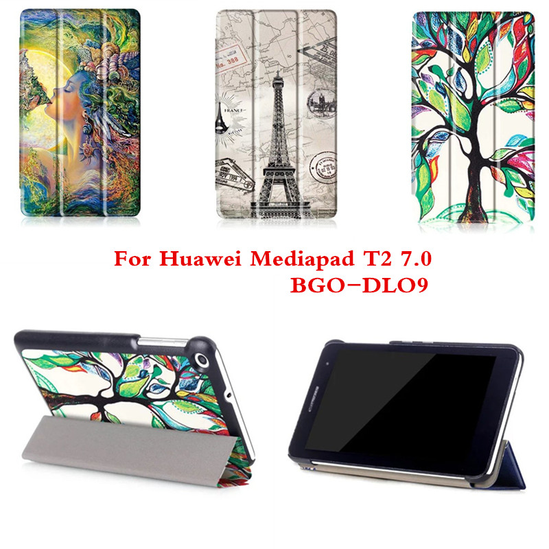 CY Fashion Colored Drawing Pu Leather Stand Case Cover Shield For Huawei Mediapad T2 7.0 BGO-DL09 BGO-L03 T1 7.0 T1-701U Tablet