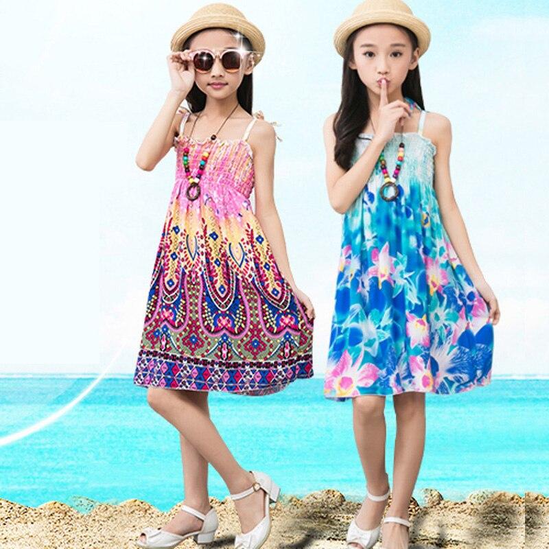 RüCksichtsvoll Teenager Mädchen Kleider 2018 Sommer Strand Blume Prinzessin Schlinge Kleid Für Baby Mädchen 3-12y Kinder Kleidung Baby Halskette Geschenk Kleider Mädchen Kleidung