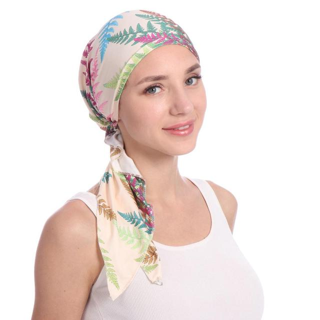 843b0933c98 Aliexpress.com   Buy Women s Elegant Headscarf Chemo Cap Beanie Women  Muslim Hair Loss Head Scarf Cancer Hat Turban Head Wrap Cover 9 Colors from  Reliable ...
