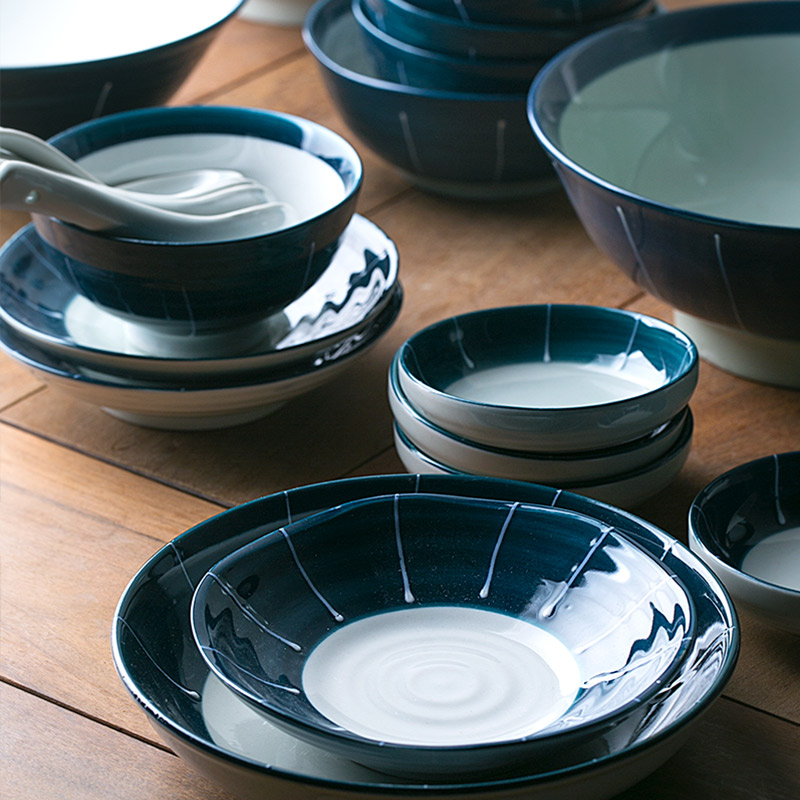 1 Person/ 2 Person/ 6 Person Ceramic Tableware Sets Deep Blue Color Ceramic Bowls Long Sushi Japanese Porcelain Dinner Set
