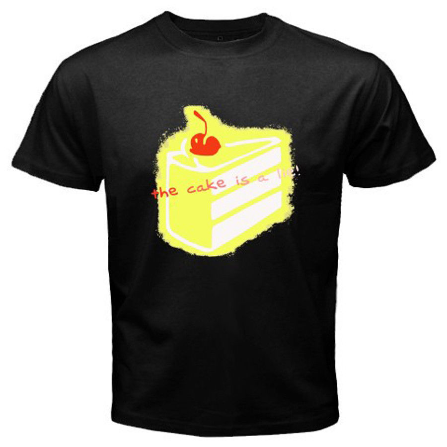 New The Cake is A Lie Portal Video Games Mens Black Harajuku Funny Men Tee Shirts