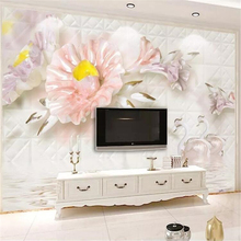 Custom wallpaper 3d solid wall white stereo flower swan soft pack European TV background papers home decor