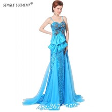 SINGLE ELEMENT Sky Blue Sequins Spaghetti Straps Mother Of The Bride